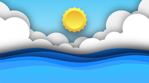Océano con nubes y sol ilustración