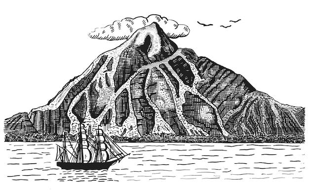 Océano o mar con barco, navega junto al volcán o montaña, dibujado a mano ilustración del paisaje grabado pirata
