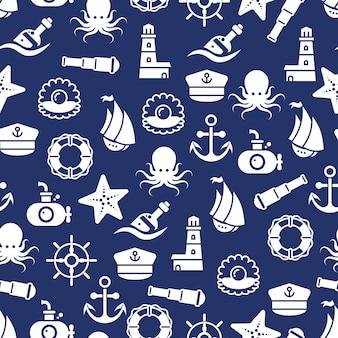 Océano o mar patrón transparente con ancla barco botella pulpo concha