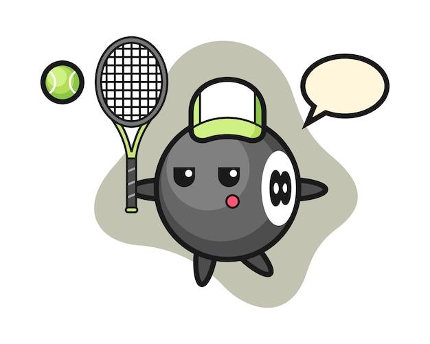 Ocho bolas de dibujos animados de billar como tenista