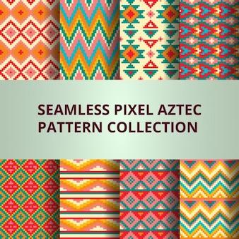 Ocho coloridos patrones pixel con decoración azteca
