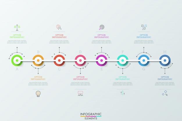 Ocho elementos circulares futuristas colocados horizontalmente y conectados, símbolos de líneas finas y cuadros de texto. concepto de ocho pasos para el logro del objetivo.
