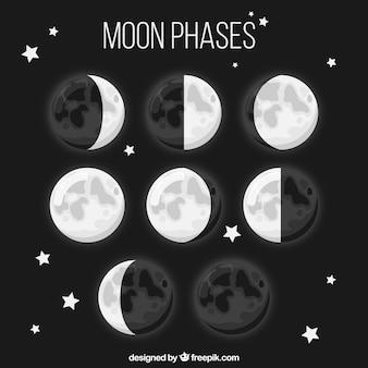 Ocho fases de la luna en diseño plano