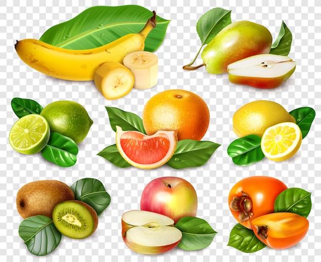 Ocho frutas en estilo realista con hojas.