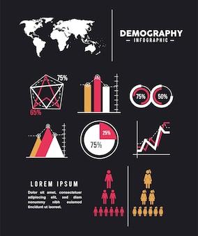 Ocho iconos de infografía de demografía