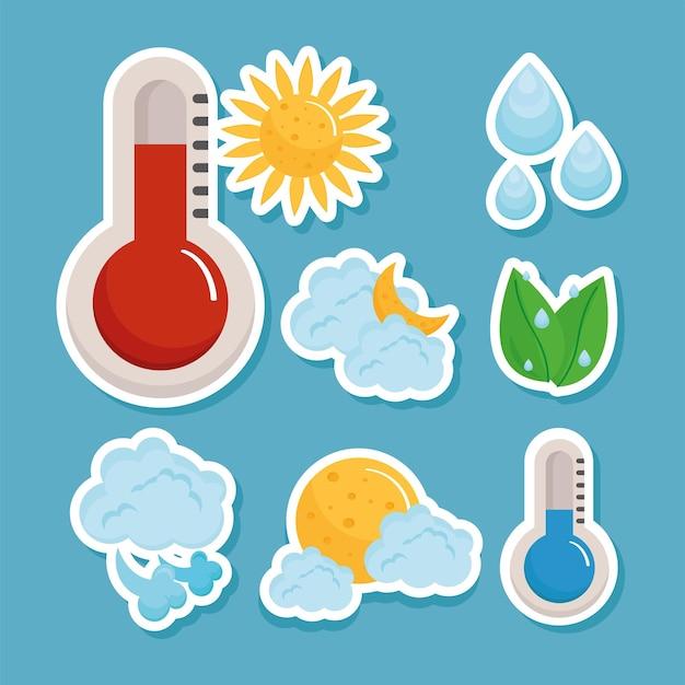 Ocho iconos de previsión meteorológica