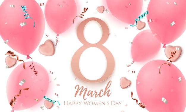 Ocho de marzo, tarjeta de felicitación del día de la mujer con corazones de caramelo, globos, confeti y cintas sobre fondo blanco. plantilla de folleto o banner. ilustración.