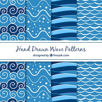 Ocho patrones de olas dibujados a mano