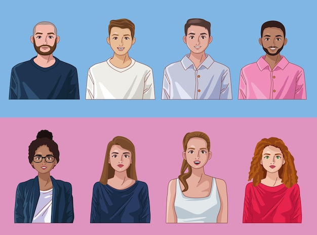 Ocho personas de diversidad