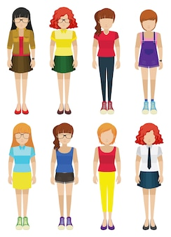 Ocho señoras sin rostro sobre un fondo blanco
