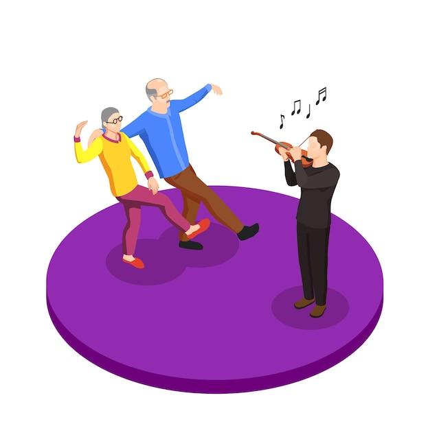 Ocio de la composición isométrica de la pareja de ancianos con un anciano y una mujer bailando bajo la ilustración de vector de música en vivo