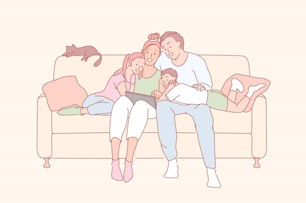 Ocio moderno, relación familiar, concepto de vinculación familiar