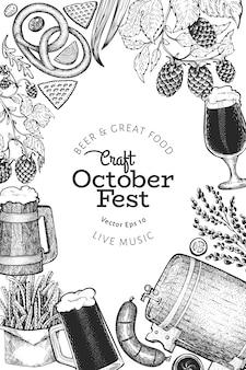 Octoberfest ilustraciones dibujadas a mano. plantilla de diseño de festival de cerveza de saludo en estilo retro. fondo de otoño.