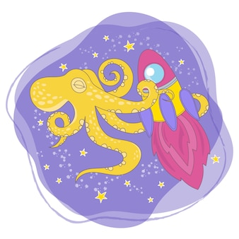 Octopus rocket cartoon space animal