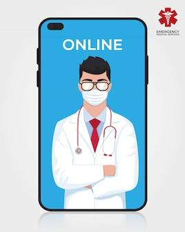 Octor en la pantalla del teléfono. consulta médica en internet. servicio web de consultoría sanitaria. soporte hospitalario en línea. médico móvil. ilustración diseño médico