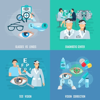 Oculista oftalmólogo flat icons square