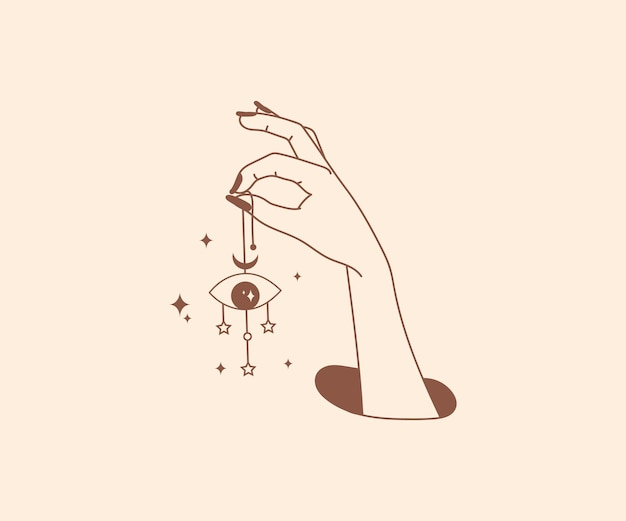 Ocultismo dibujado a mano logotipo de manos mágicas con elementos de diseño místico esotérico ojo de dios estrella