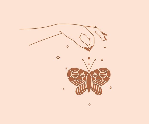 Ocultismo dibujado a mano logotipo de manos mágicas con mariposas y estrellas elementos de diseño místico esotérico