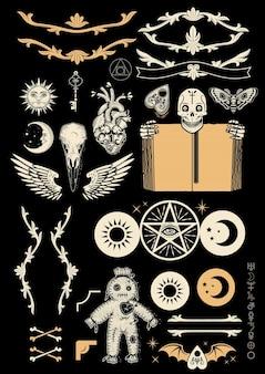 Ocultismo con pentagrama, muñeco vudú, cráneo humano con libro antiguo, alas, cráneo de cuervo y símbolos alquímicos. ilustración.