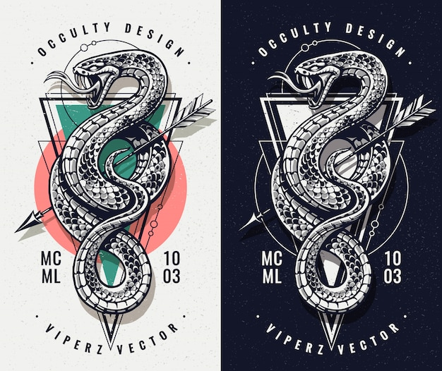 Oculto con serpiente y geometría
