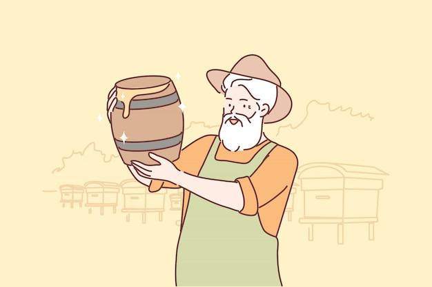 Ocupación, apicultura, miel, concepto de cosecha