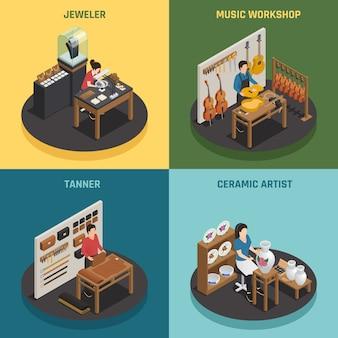 Ocupación artesanal 2x2 concepto de diseño