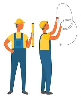 Ocupación eléctrica, electricista con tubo vector