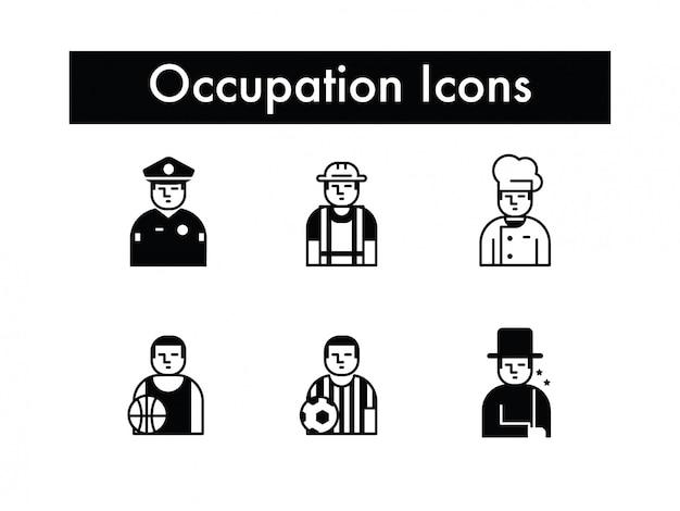 Ocupación o trabajo o profesión icono conjunto de vectores