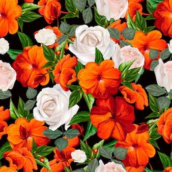 Ocupado lizzie y rosas blancas de patrones sin fisuras