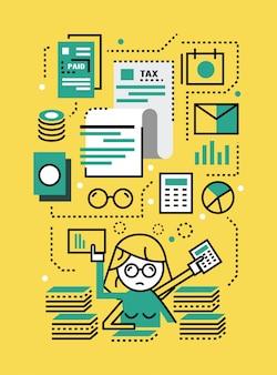 Ocupado mujer de negocios con documentos fiscales. concepto de impuestos. diseño de iconos de líneas planas. ilustración vectorial