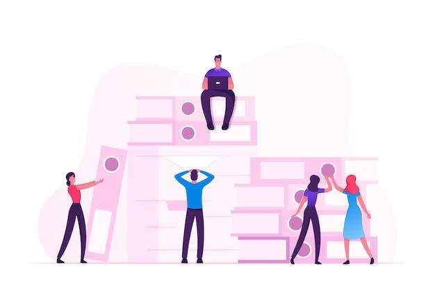 Ocupado oficina gente empleados de la compañía plazo de trámites, concepto de estrés. ilustración plana de dibujos animados