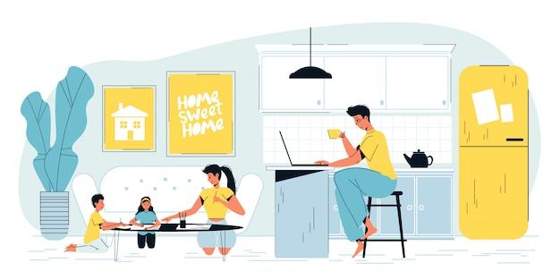 Ocupado padre independiente que trabaja en la computadora portátil en casa