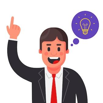 Se le ocurrió una idea brillante a un hombre de traje. levanta la mano ilustración de vector de personaje plano