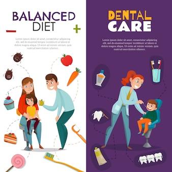 Odontología pediátrica vertical con dieta equilibrada y descripciones de cuidado dental.