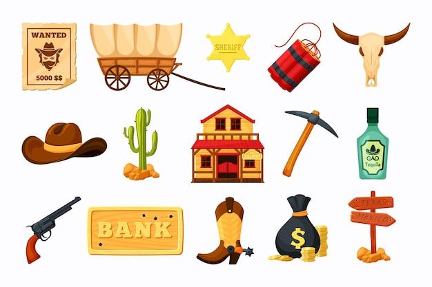 Oeste salvaje con ilustración de varios elementos