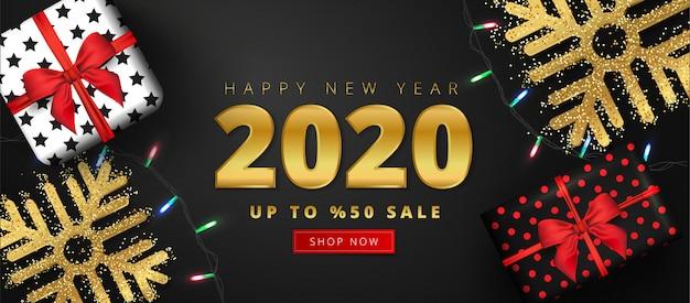 Oferta de 50% de descuento para letras de venta de feliz año nuevo 2020