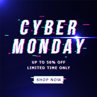Oferta de banner de cyber lunes en estilo glitch