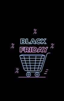 Oferta de black friday. venta de temporada. compras en línea, anuncios de internet en estilo neón. comercio electrónico. banner promocional con carrito de compras.