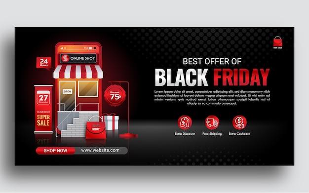Oferta de compras en línea de black friday en sitio web o aplicación móvil