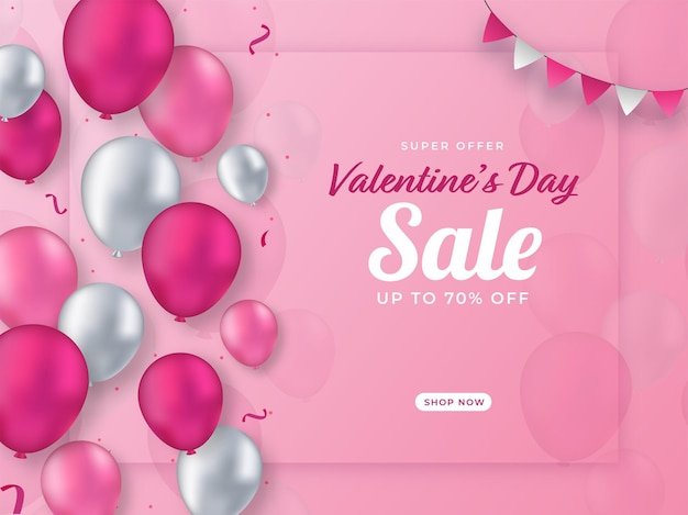 Oferta de descuento de cartel de venta de san valentín y globos brillantes decorados sobre fondo rosa.