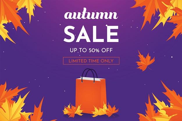 Oferta de descuento de venta de otoño hasta 50 por ciento de descuento con hojas de roble, pancarta y fondo.