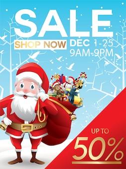 Oferta de descuentos navideños. dibujos animados de santa claus con gran bolsa roja con regalos en la nieve