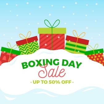 Oferta de día de boxeo en diseño plano