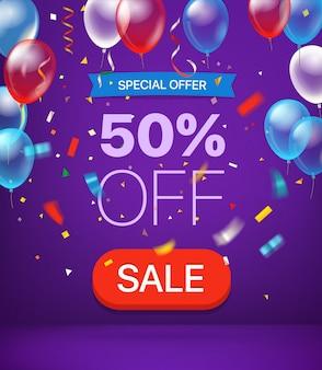 Oferta especial 50 por ciento de descuento en banner