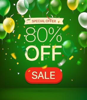 Oferta especial 80 por ciento de descuento banner de venta
