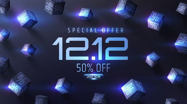 Oferta especial banner de venta con cubos negros de porcentajes 3d