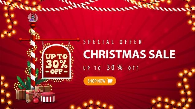 Oferta especial, banner de venta de navidad.