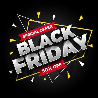 Oferta especial banner de venta de viernes negro