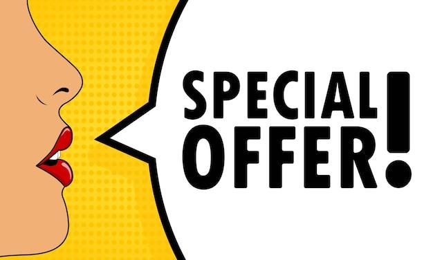 Oferta especial. boca femenina con lápiz labial rojo gritando. bocadillo de diálogo con texto oferta especial. puede utilizarse para negocios, marketing y publicidad. eps vectoriales 10.