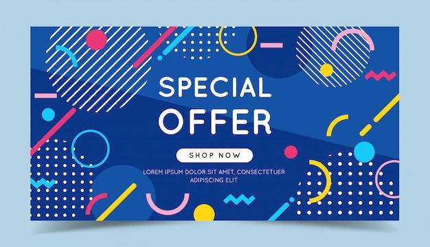 Oferta especial colorido banner con elementos geométricos abstractos de moda y fondo brillante.